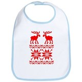 Moose Sweater Christmas Pattern Bib