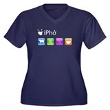 iPho Women's Plus Size V-Neck Dark T-Shirt
