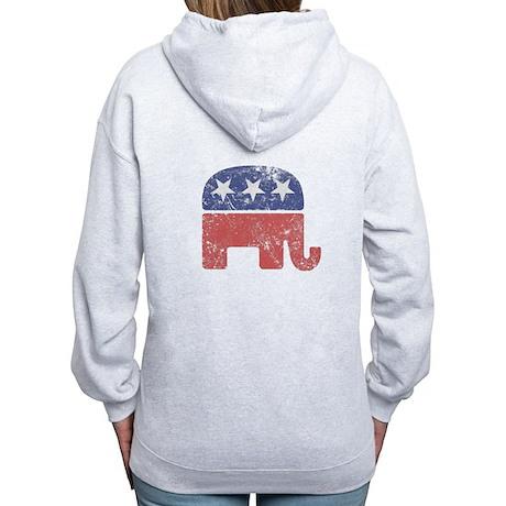 Worn Republican Elephant Women's Zip Hoodie