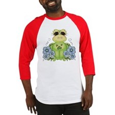 Fun Frog & Flowers Baseball Jersey