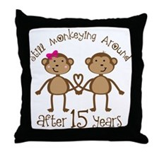15th Anniversary Love Monkeys Throw Pillow