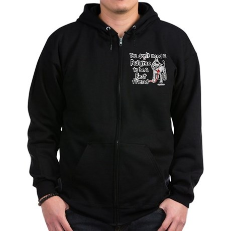No Pedigree Needed Zip Hoodie (dark)