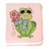 Cute Frog &amp; Flower baby blanket