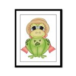 Funny Frog With Hat Framed Panel Print