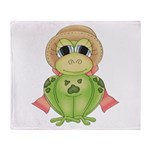 Funny Frog With Hat Throw Blanket