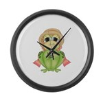 Funny Frog With Hat Large Wall Clock