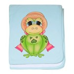 Funny Frog With Hat baby blanket