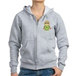 Funny Frog With Hat Women's Zip Hoodie