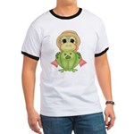 Funny Frog With Hat Ringer T