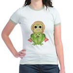 Funny Frog With Hat Jr. Ringer T-Shirt