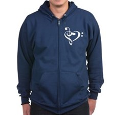 Treble and Bass heart - Black Hoodie
