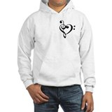 Treble and Bass heart - White Hoodie