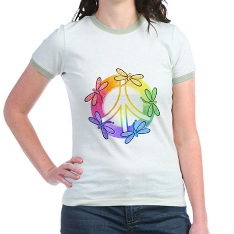 Dragonfly Peace Sign Jr. Ringer T-Shirt