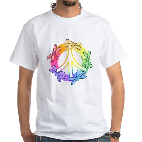 Dragonfly Peace Sign Men's White T-Shirt
