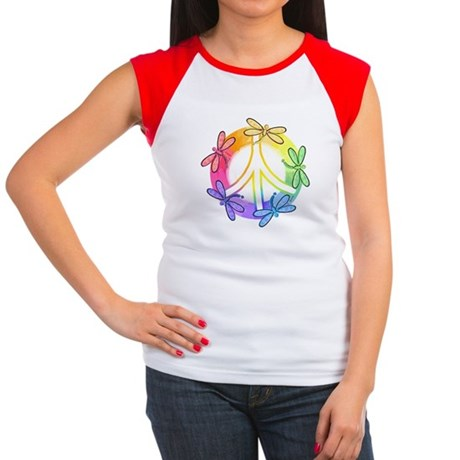 Dragonfly Peace Sign Women's Cap Sleeve T-Shirt