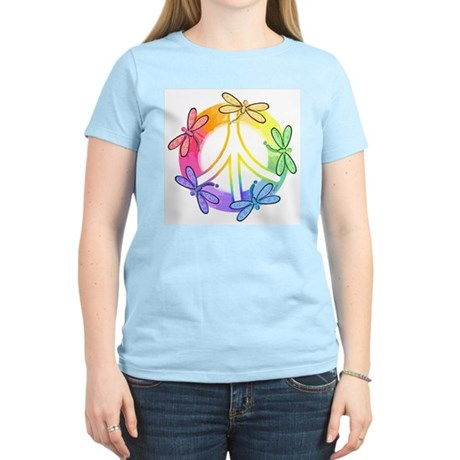 Dragonfly Peace Sign Women's Pink T-Shirt