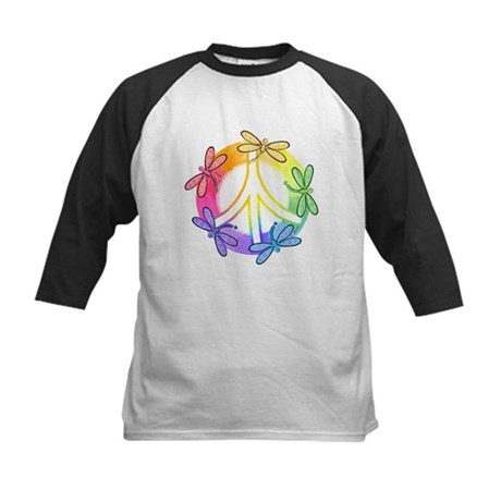 Dragonfly Peace Sign Kids Baseball Jersey