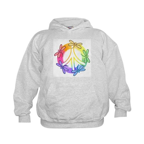 Dragonfly Peace Sign Kids Hoodie