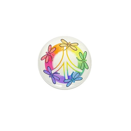 Dragonfly Peace Sign Mini Button