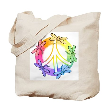 Dragonfly Peace Sign Tote Bag