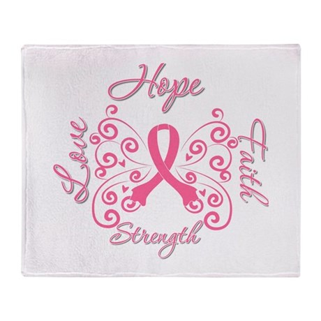 Breast Cancer Butterfly Hope Throw Blanket