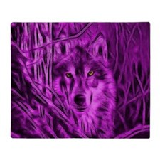 Pink Night Warrior Wolf Throw Blanket