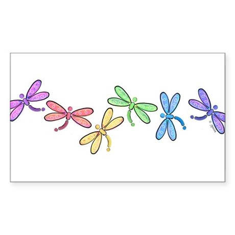 Rainbow Dragonflies Rectangle Sticker