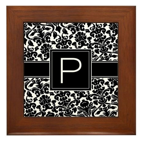 Monogram Letter P Gifts Framed Tile