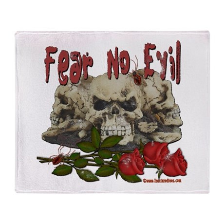 Fear No Evil Skull and Rose Throw Blanket