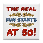 Real Fun 50th Birthday Tile Coaster