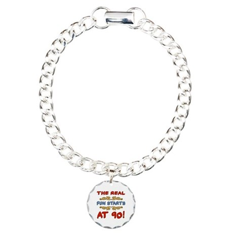 Real Fun 90th Birthday Charm Bracelet, One Charm