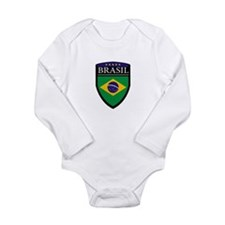Brasil Flag Patch Long Sleeve Infant Bodysuit