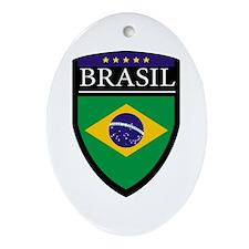 Brasil Flag Patch Ornament (Oval)