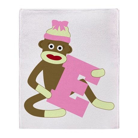 Sock Monkey Monogram Girl E Throw Blanket