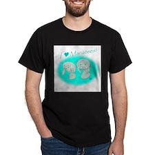 I Love Manatees Black T-Shirt