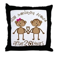 20th Anniversary Love Monkeys Throw Pillow