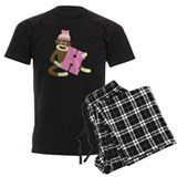 Sock Monkey Monogram Girl H pajamas