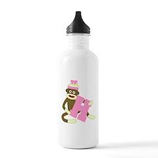 Sock Monkey Monogram Girl H Water Bottle