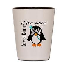 Penguin Cancer Awareness Shot Glass