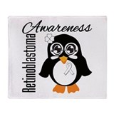 Penguin Cancer Awareness Throw Blanket