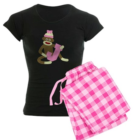 Sock Monkey Monogram Girl J Women's Dark Pajamas