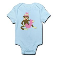 Sock Monkey Monogram Girl J Infant Bodysuit
