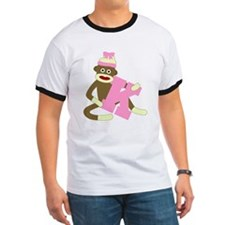Sock Monkey Monogram Girl K T-Shirt