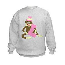 Sock Monkey Monogram Girl L Sweatshirt