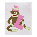 Sock Monkey Monogram Girl L Throw Blanket