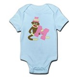 Sock Monkey Monogram Girl M Onesie