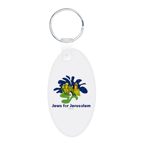 Jews For Jerusalem Aluminum Oval Keychain