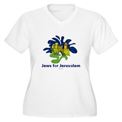 Jews For Jerusalem Women's Plus Size V-Neck T-Shir