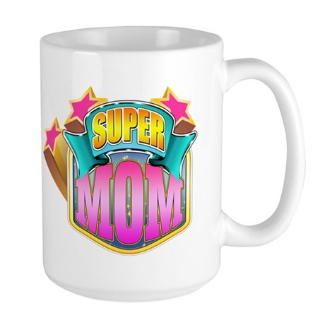 Pink Super Mom Large Mug