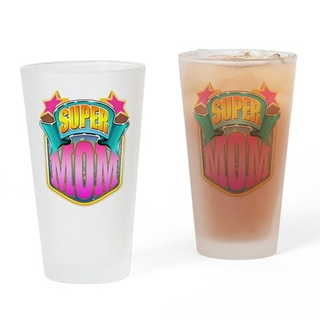 Pink Super Mom Drinking Glass